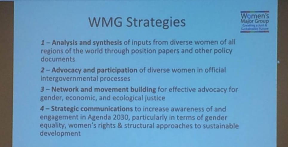 The Women's Major Group (WMG) holds introductory and strategy sessions when so many women members from around the world are in NYC for the CSW.