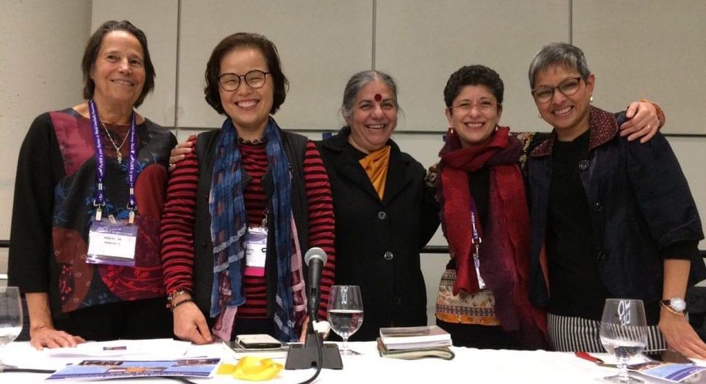Moral Compass Speakers - Executive Director Alison Van Dyk, Dr. Vandana Shiva, Board member Laxmi Shah, and UN Representative Grove Harris, Toronto, 2018
